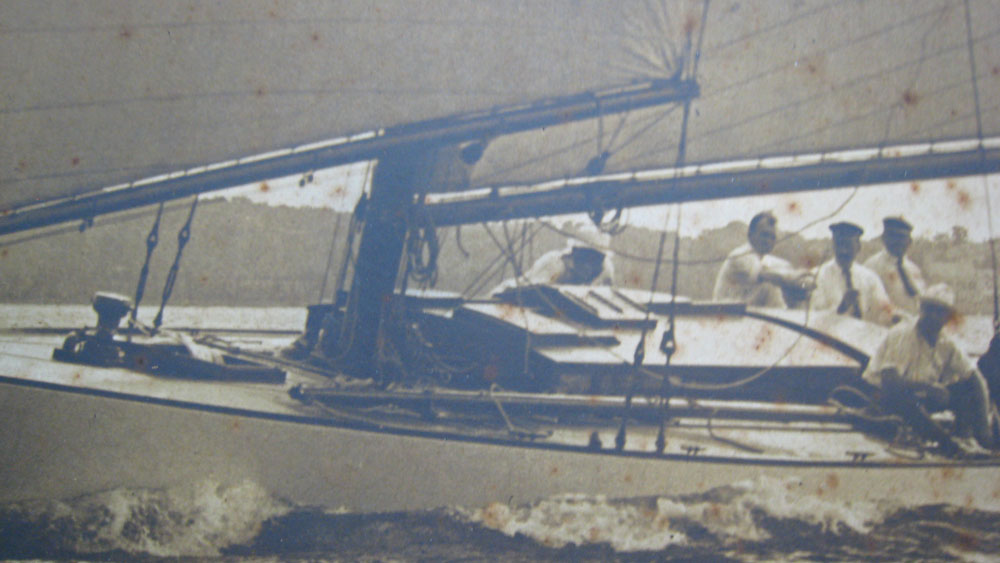Old Photo of Men on Boat